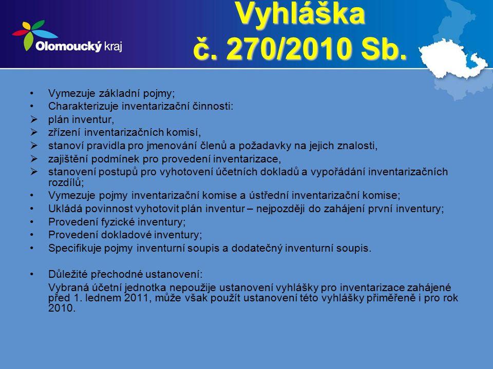 Vyhláška č. 270/2010 Sb. Vymezuje základní pojmy; Charakterizuje inventarizační činnosti:  plán inventur,  zřízení inventarizačních komisí,  stanov