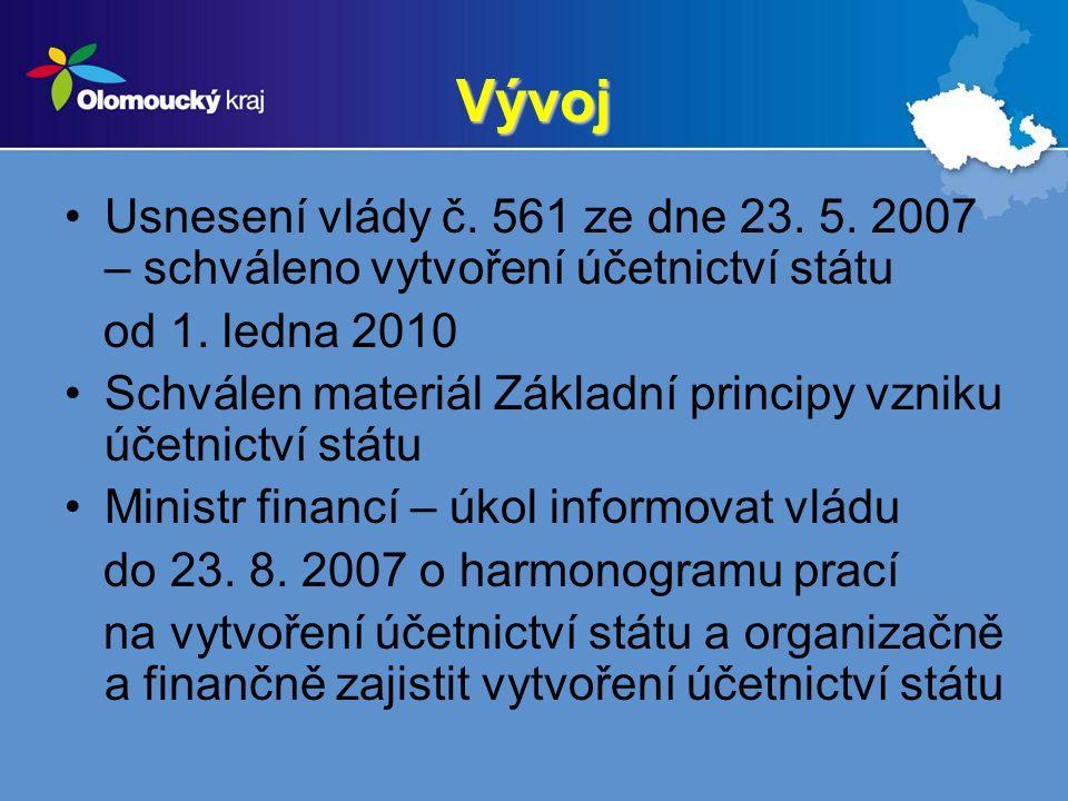 Vývoj Usnesení vlády č. 561 ze dne 23. 5. 2007 – schváleno vytvoření účetnictví státu od 1. ledna 2010 Schválen materiál Základní principy vzniku účet