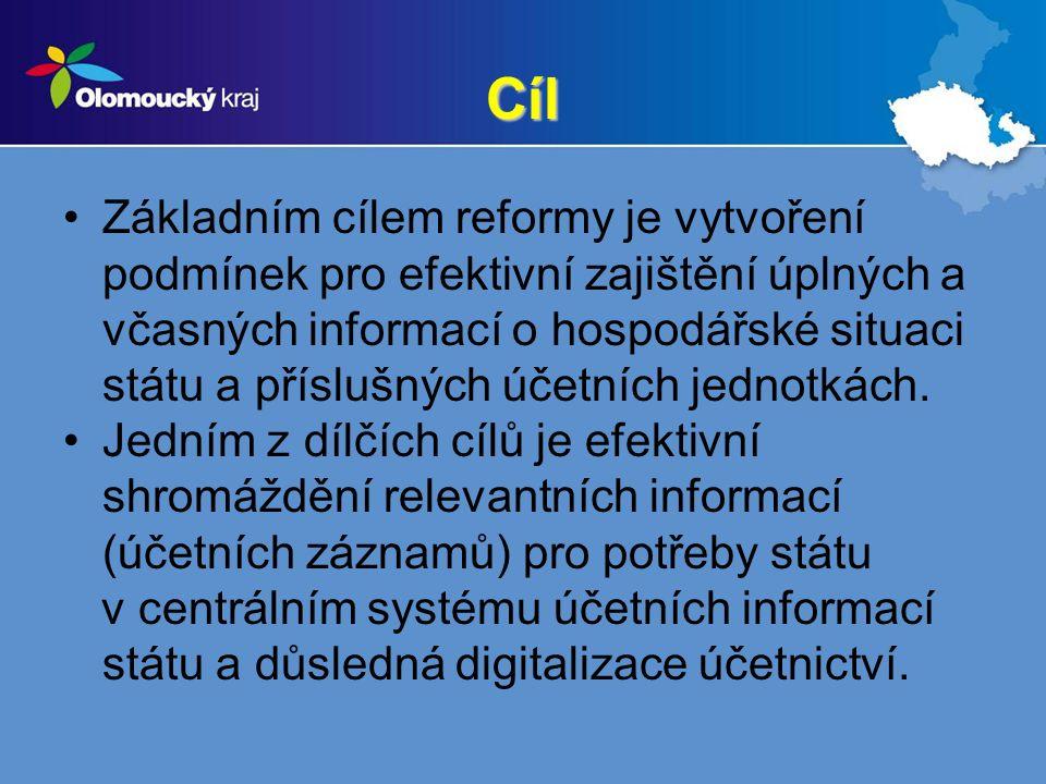 Cíl Základním cílem reformy je vytvoření podmínek pro efektivní zajištění úplných a včasných informací o hospodářské situaci státu a příslušných účetn