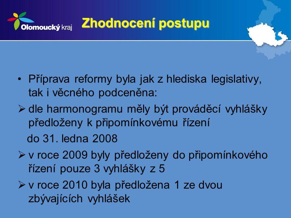 Zhodnocení postupu Příprava reformy byla jak z hlediska legislativy, tak i věcného podceněna:  dle harmonogramu měly být prováděcí vyhlášky předloženy k připomínkovému řízení do 31.
