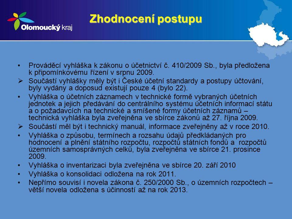 Zhodnocení postupu Prováděcí vyhláška k zákonu o účetnictví č. 410/2009 Sb., byla předložena k připomínkovému řízení v srpnu 2009.  Součástí vyhlášky