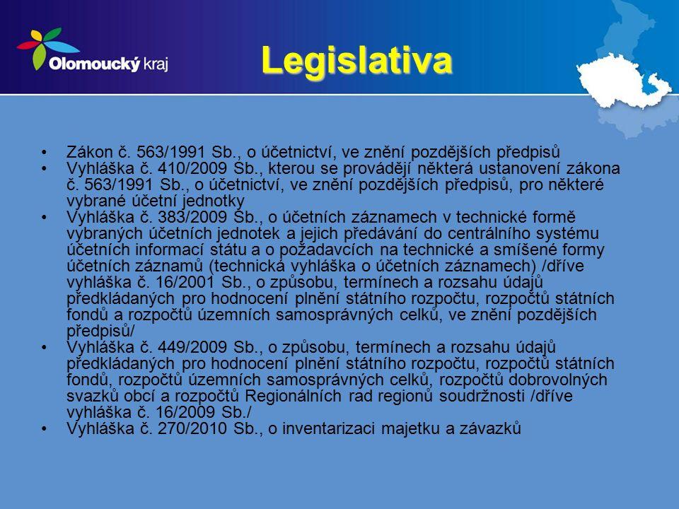Legislativa Zákon č. 563/1991 Sb., o účetnictví, ve znění pozdějších předpisů Vyhláška č.