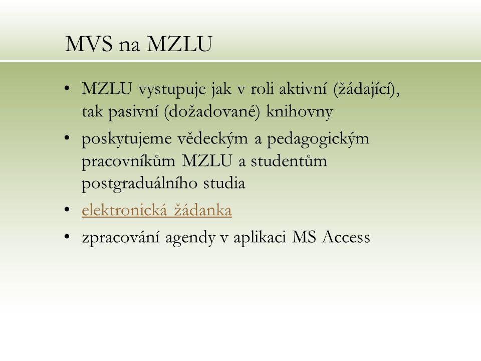MVS na MZLU MZLU vystupuje jak v roli aktivní (žádající), tak pasivní (dožadované) knihovny poskytujeme vědeckým a pedagogickým pracovníkům MZLU a stu