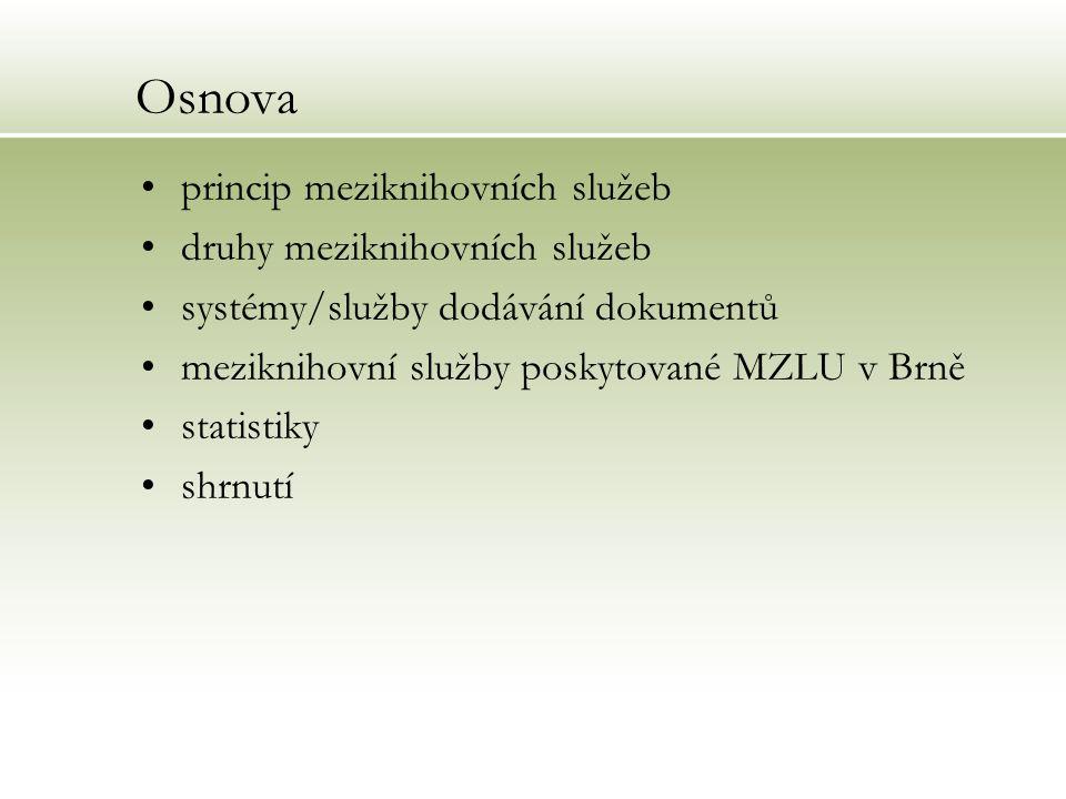 Osnova princip meziknihovních služeb druhy meziknihovních služeb systémy/služby dodávání dokumentů meziknihovní služby poskytované MZLU v Brně statist