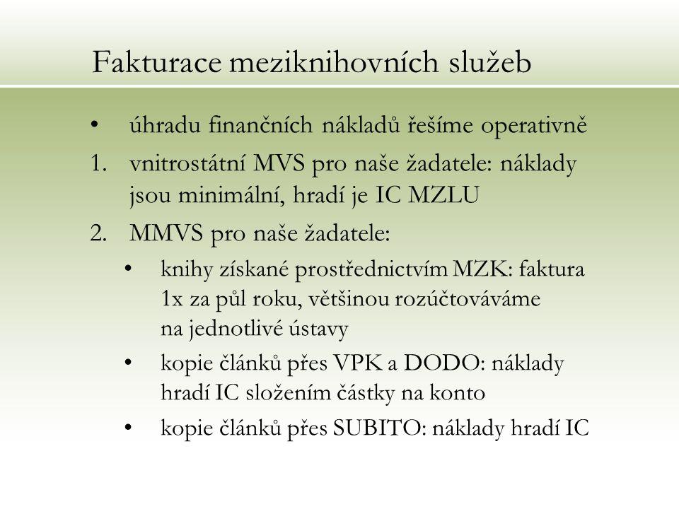 Fakturace meziknihovních služeb úhradu finančních nákladů řešíme operativně 1.vnitrostátní MVS pro naše žadatele: náklady jsou minimální, hradí je IC