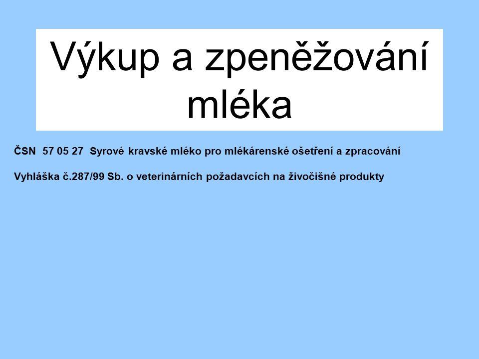 Výkup a zpeněžování mléka ČSN 57 05 27 Syrové kravské mléko pro mlékárenské ošetření a zpracování Vyhláška č.287/99 Sb. o veterinárních požadavcích na