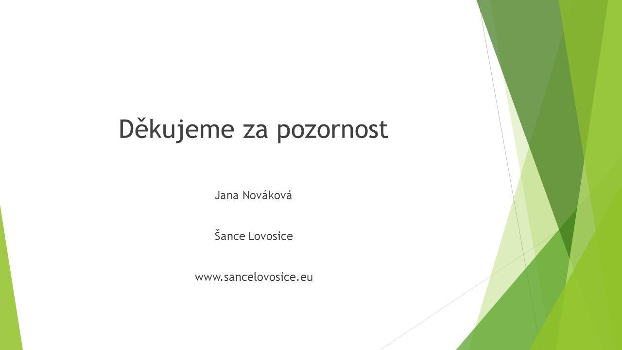 Děkujeme za pozornost Jana Nováková Šance Lovosice www.sancelovosice.eu