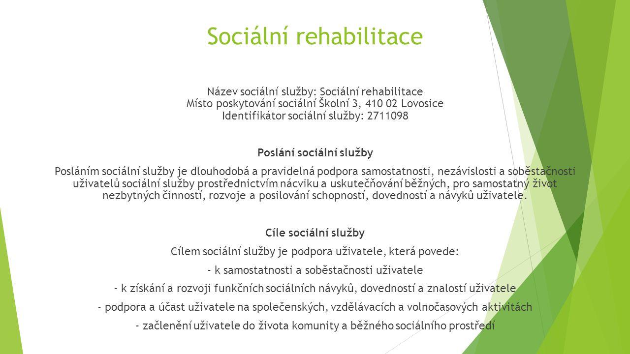 Sociální rehabilitace Název sociální služby: Sociální rehabilitace Místo poskytování sociální Školní 3, 410 02 Lovosice Identifikátor sociální služby: