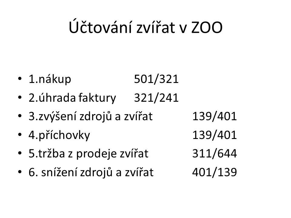 Účtování zvířat v ZOO 1.nákup501/321 2.úhrada faktury321/241 3.zvýšení zdrojů a zvířat139/401 4.příchovky139/401 5.tržba z prodeje zvířat311/644 6.