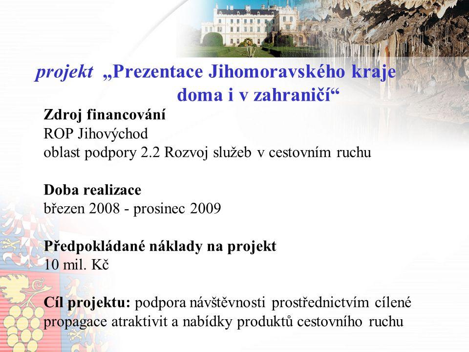 """Aktivity: vytvoření analýz (příjezdový CR, monitoring) veletržní expozice JMK na veletrzích cestovního ruchu v roce 2009: Regiontour, Holiday World a Slovakiatour, propagační materiál – průvodce po turistických atraktivitách JMK, prezentace v domácích i zahraničních médiích, další formy prezentace JMK (outdoor, internet, prezentace v obchodních centrech,…) projekt """"Prezentace Jihomoravského kraje doma i v zahraničí"""