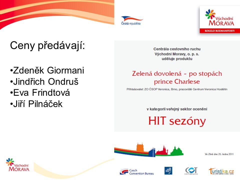 Ceny předávají: Zdeněk Giormani Jindřich Ondruš Eva Frindtová Jiří Pilnáček
