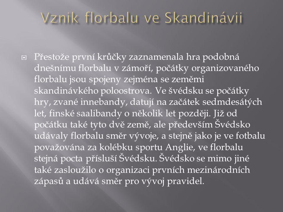  Přestože první krůčky zaznamenala hra podobná dnešnímu florbalu v zámoří, počátky organizovaného florbalu jsou spojeny zejména se zeměmi skandinávké