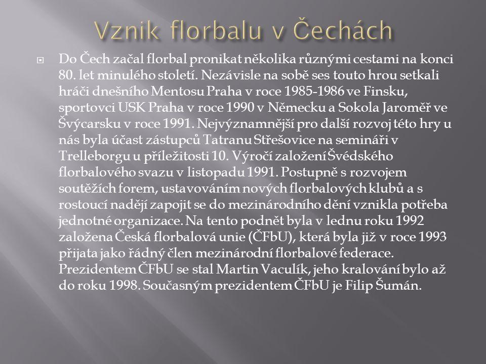  Do Čech začal florbal pronikat několika různými cestami na konci 80. let minulého století. Nezávisle na sobě ses touto hrou setkali hráči dnešního M
