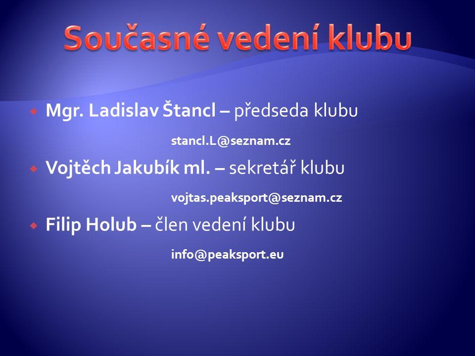  Mgr. Ladislav Štancl – předseda klubu stancl.L@seznam.cz  Vojtěch Jakubík ml.