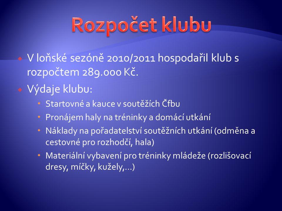  V loňské sezóně 2010/2011 hospodařil klub s rozpočtem 289.000 Kč.  Výdaje klubu:  Startovné a kauce v soutěžích Čfbu  Pronájem haly na tréninky a