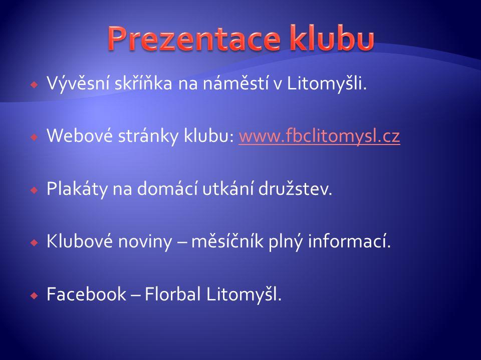  Vývěsní skříňka na náměstí v Litomyšli.  Webové stránky klubu: www.fbclitomysl.czwww.fbclitomysl.cz  Plakáty na domácí utkání družstev.  Klubové