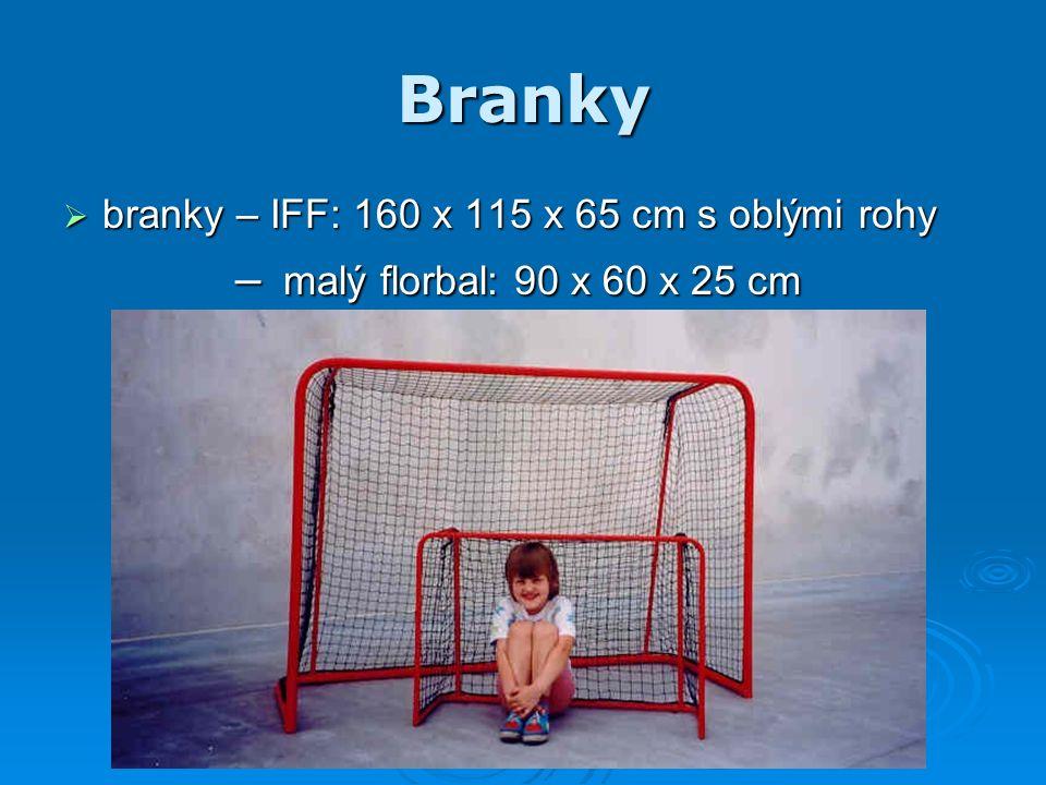 Branky  branky – IFF: 160 x 115 x 65 cm s oblými rohy – malý florbal: 90 x 60 x 25 cm – malý florbal: 90 x 60 x 25 cm