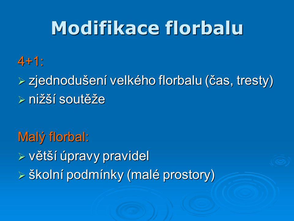 Modifikace florbalu 4+1:  zjednodušení velkého florbalu (čas, tresty)  nižší soutěže Malý florbal:  větší úpravy pravidel  školní podmínky (malé prostory)