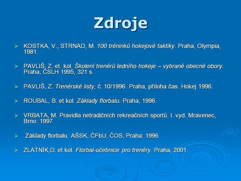 Zdroje  KOSTKA, V., STRNAD, M. 100 tréninků hokejové taktiky.