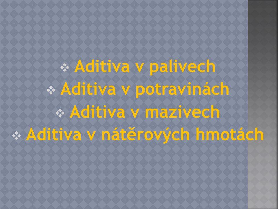  Aditiva v palivech  Aditiva v potravinách  Aditiva v mazivech  Aditiva v nátěrových hmotách