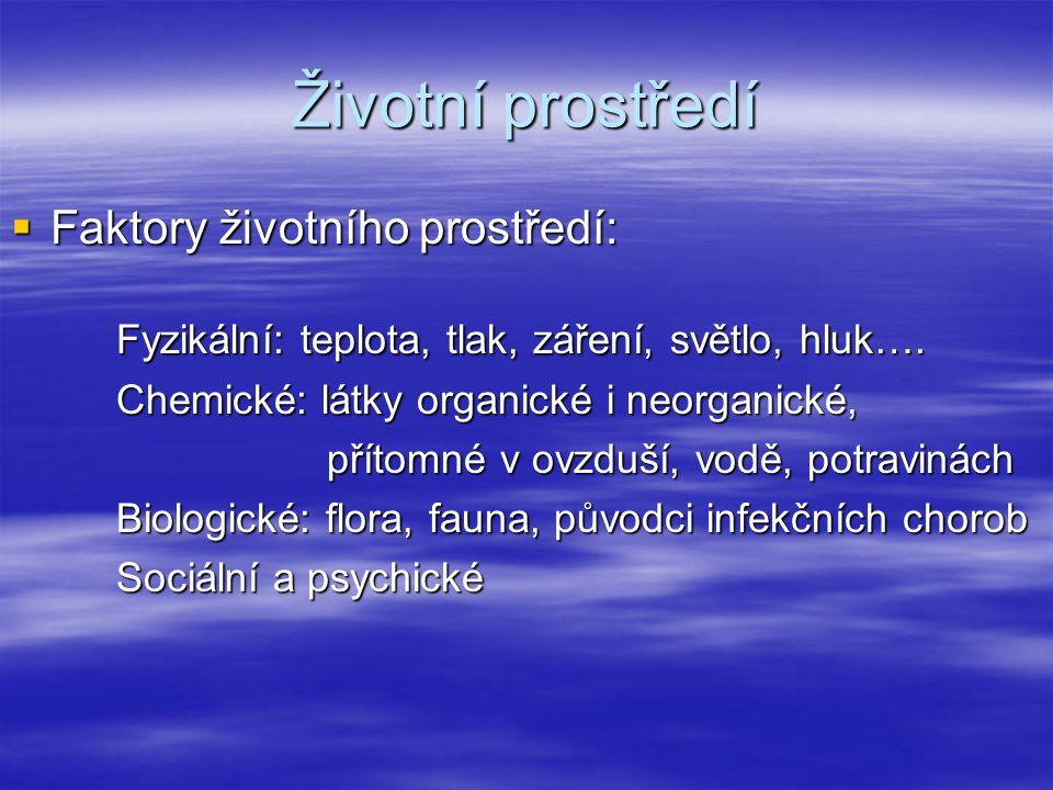 Životní prostředí  Faktory životního prostředí: Fyzikální: teplota, tlak, záření, světlo, hluk….