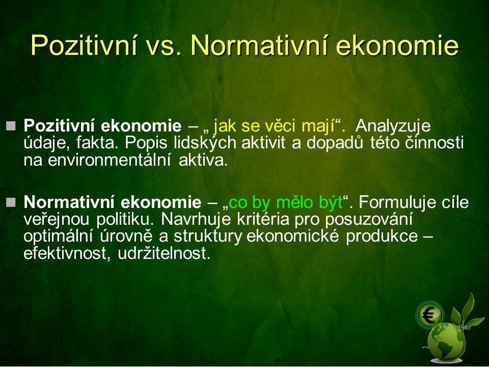 """Pozitivní vs. Normativní ekonomie Pozitivní ekonomie – """" jak se věci mají"""". Analyzuje údaje, fakta. Popis lidských aktivit a dopadů této činnosti na e"""