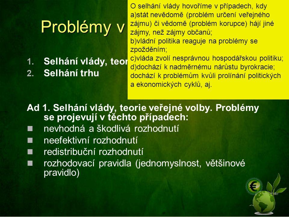 Problémy v tržní ekonomice 1.Selhání vlády, teorie veřejné volby 2.