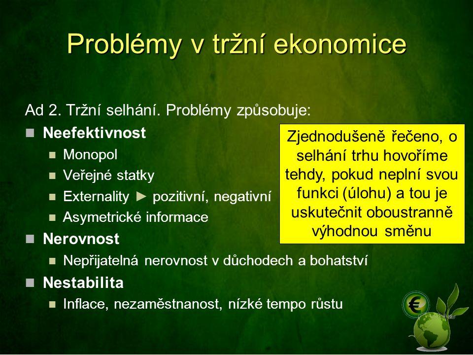 Problémy v tržní ekonomice Ad 2. Tržní selhání. Problémy způsobuje: Neefektivnost Monopol Veřejné statky Externality ► pozitivní, negativní Asymetrick