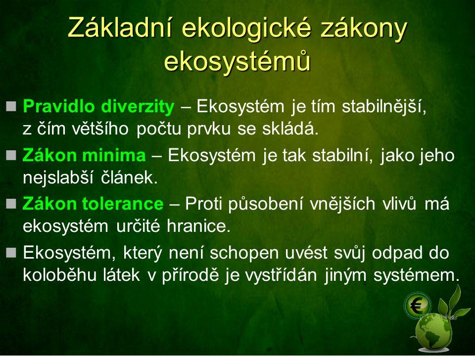 Základní ekologické zákony ekosystémů Pravidlo diverzity – Ekosystém je tím stabilnější, z čím většího počtu prvku se skládá. Zákon minima – Ekosystém