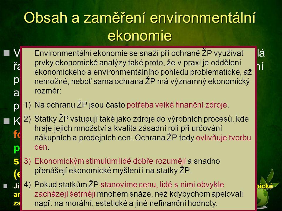 V rámci environmentální ekonomie se dále řeší celá řada dílčích problémů například z oblasti oceňování přírodních statků, měření externalit, cost-benefit analýz či investic a výdajů na ochranu životního prostředí.