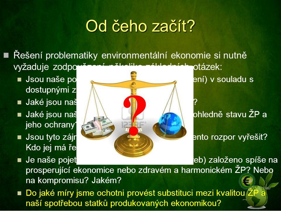 Od čeho začít? Řešení problematiky environmentální ekonomie si nutně vyžaduje zodpovězení několika základních otázek: Jsou naše potřeby (a snaha o jej