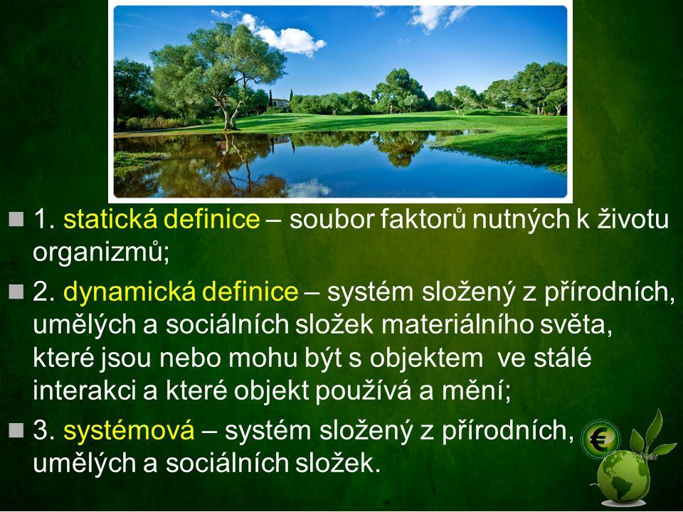 Životní prostředí 1. statická definice – soubor faktorů nutných k životu organizmů; 2. dynamická definice – systém složený z přírodních, umělých a soc