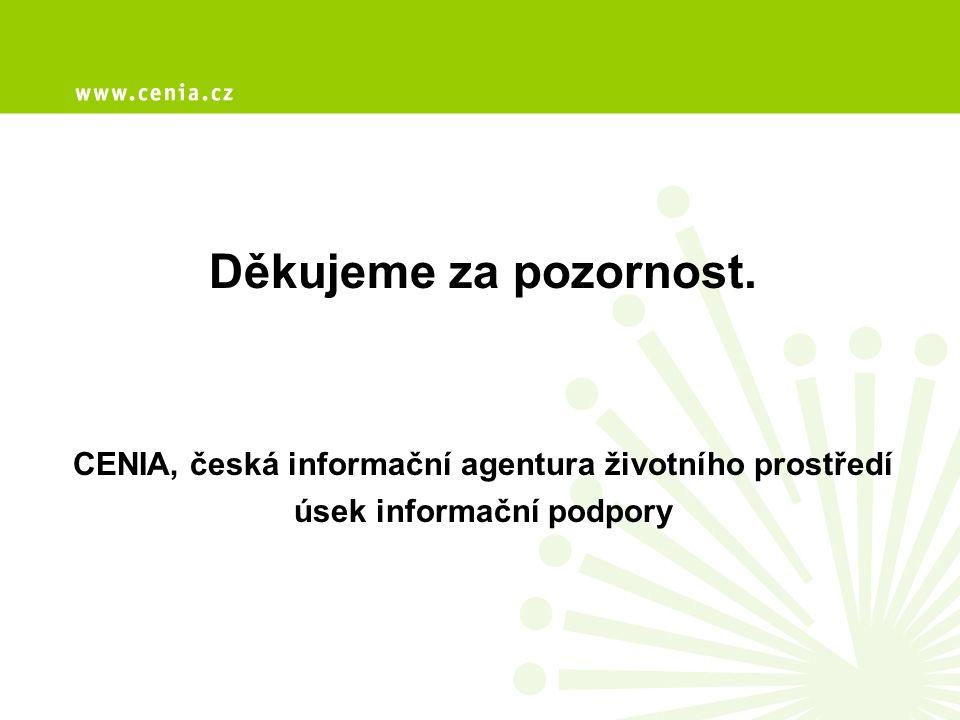 Děkujeme za pozornost. CENIA, česká informační agentura životního prostředí úsek informační podpory