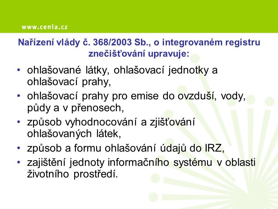 Centrální ohlašovna Ministerstva životního prostředí komunikační rozhraní mezi ohlašovateli do IRZ a dotčenými subjekty státní správy nebo institucemi pověřenými kontrolou ohlašovaných údajů, zřízena na základě § 4 nařízení vlády č.