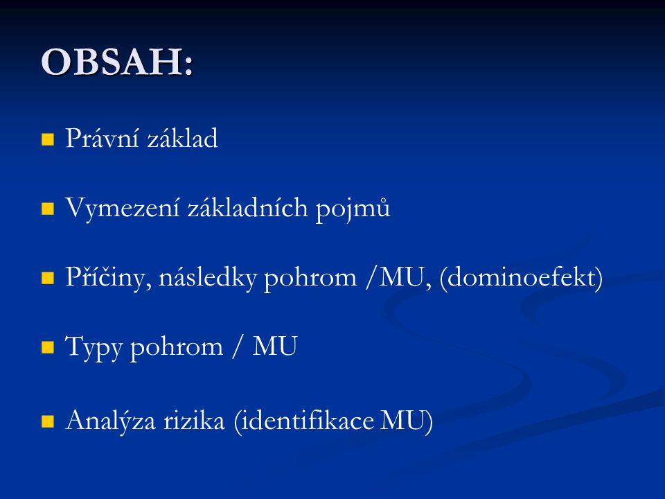 OBSAH: Právní základ Vymezení základních pojmů Příčiny, následky pohrom /MU, (dominoefekt) Typy pohrom / MU Analýza rizika (identifikace MU)