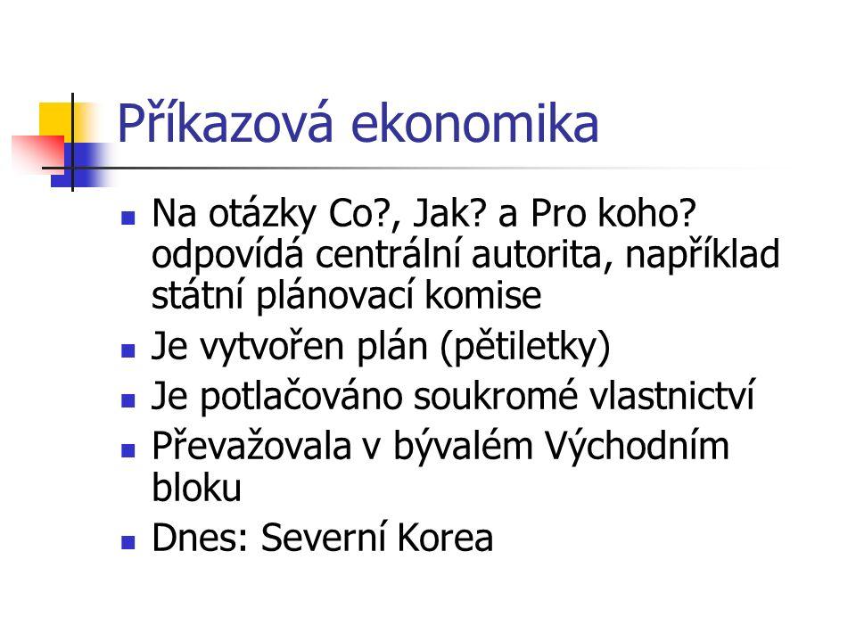 Příkazová ekonomika Na otázky Co?, Jak. a Pro koho.