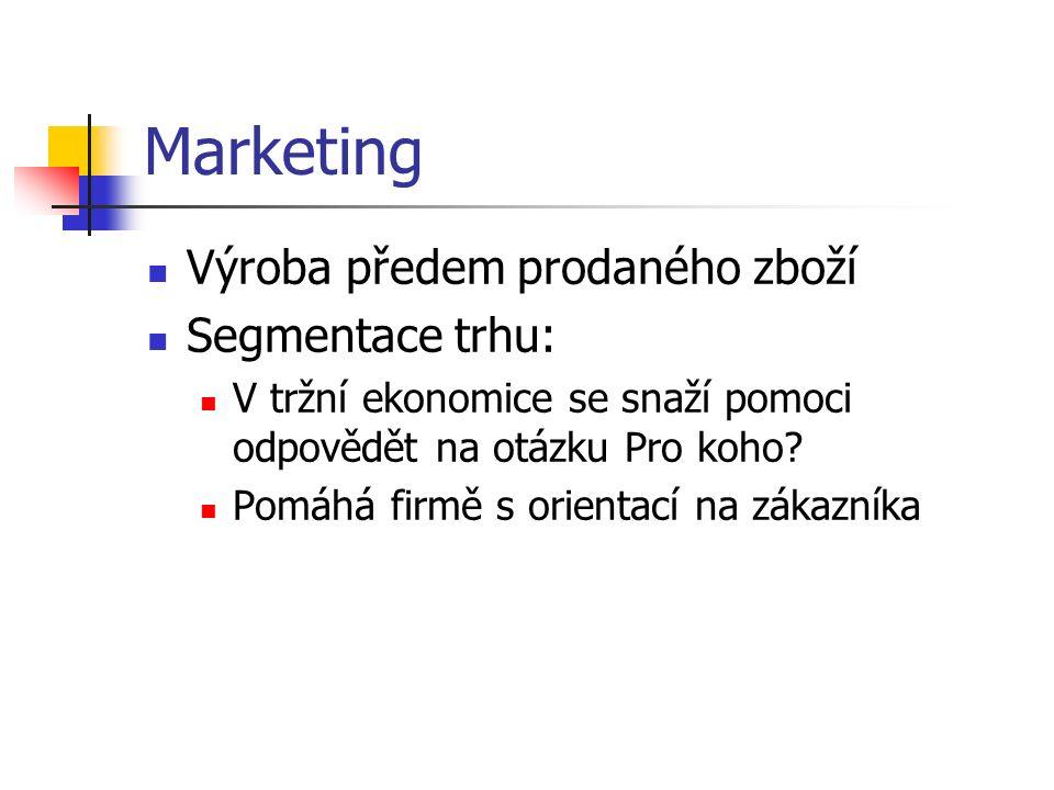 Marketing Výroba předem prodaného zboží Segmentace trhu: V tržní ekonomice se snaží pomoci odpovědět na otázku Pro koho? Pomáhá firmě s orientací na z