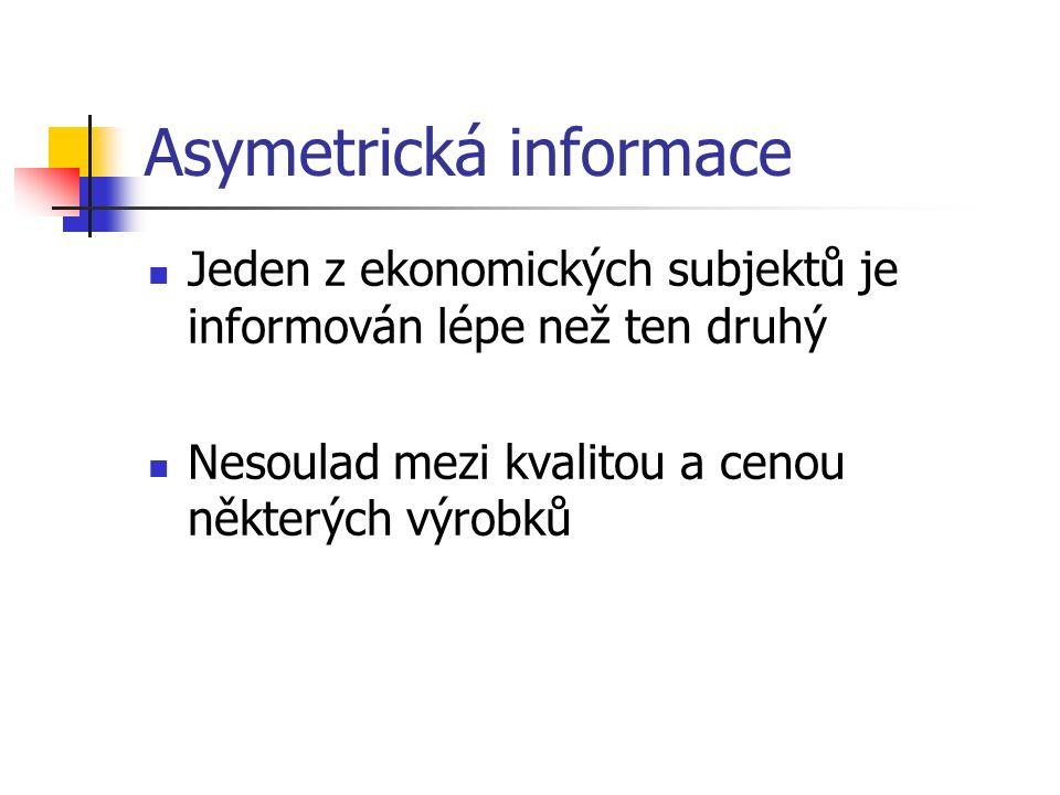 Asymetrická informace Jeden z ekonomických subjektů je informován lépe než ten druhý Nesoulad mezi kvalitou a cenou některých výrobků