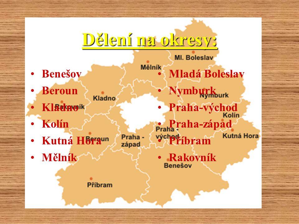 Dělení na okresy: Benešov Beroun Kladno Kolín Kutná Hora Mělník Mladá Boleslav Nymburk Praha-východ Praha-západ Příbram Rakovník