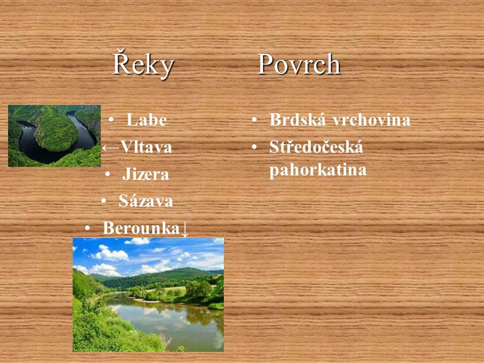 Řeky Povrch Řeky Povrch Labe ←Vltava Jizera Sázava Berounka↓ Brdská vrchovina Středočeská pahorkatina