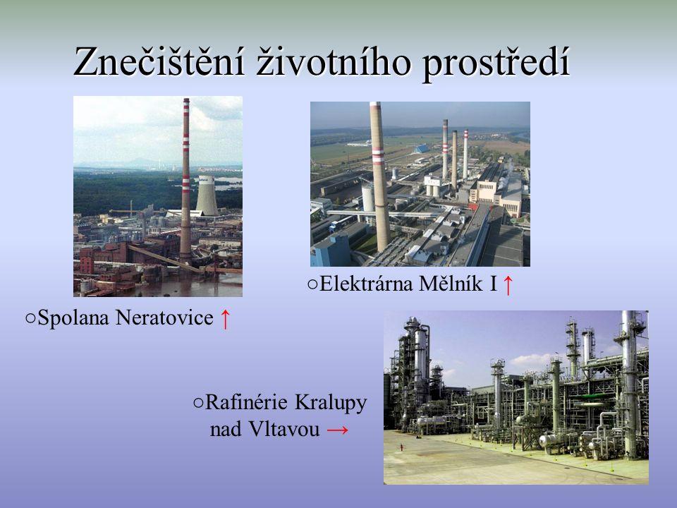 Znečištění životního prostředí ○Spolana Neratovice ↑ ○Elektrárna Mělník I ↑ ○Rafinérie Kralupy nad Vltavou →