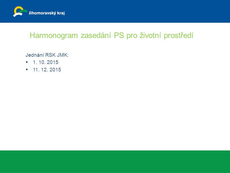 Harmonogram zasedání PS pro životní prostředí Jednání RSK JMK:  1. 10. 2015  11. 12. 2015