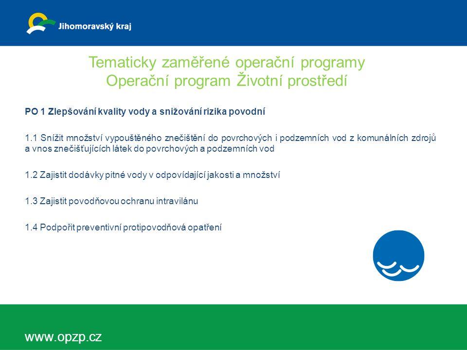 Tematicky zaměřené operační programy Operační program Životní prostředí PO 2 Zlepšování kvality ovzduší v lidských sídlech 2.1 - Snížit emise z lokálního vytápění domácností podílející se na expozici obyvatelstva koncentracím znečišťujících látek 2.2 - Snížit emise stacionárních zdrojů podílející se na expozici obyvatelstva nadlimitním znečišťujících látek 2.3 - Zlepšit systém sledování, hodnocení a předpovídání vývoje kvality ovzduší a meteorologických aspektů w www.opzp.cz