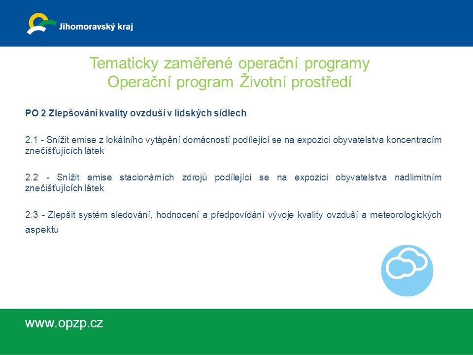 Tematicky zaměřené operační programy Operační program Životní prostředí PO 3 Odpady a materiálové toky, ekologické zátěže a rizika 3.1 - Prevence vzniku odpadů 3.2 - Zvýšit podíl materiálového a energetického využití odpadů 3.3 - Rekultivace staré skládky 3.4 - Dokončit inventarizaci a odstranit ekologické zátěže 3.5 - Snížit environmentální rizika a rozvíjet systémy jejich řízení www.opzp.cz
