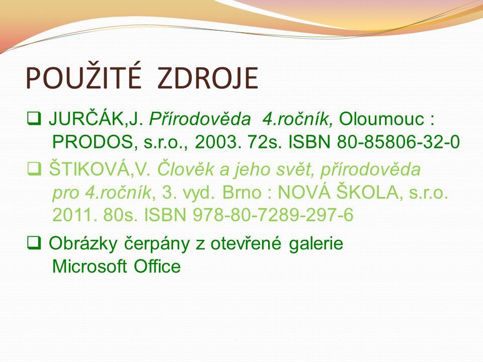 POUŽITÉ ZDROJE  JURČÁK,J.Přírodověda 4.ročník, Oloumouc : PRODOS, s.r.o., 2003.