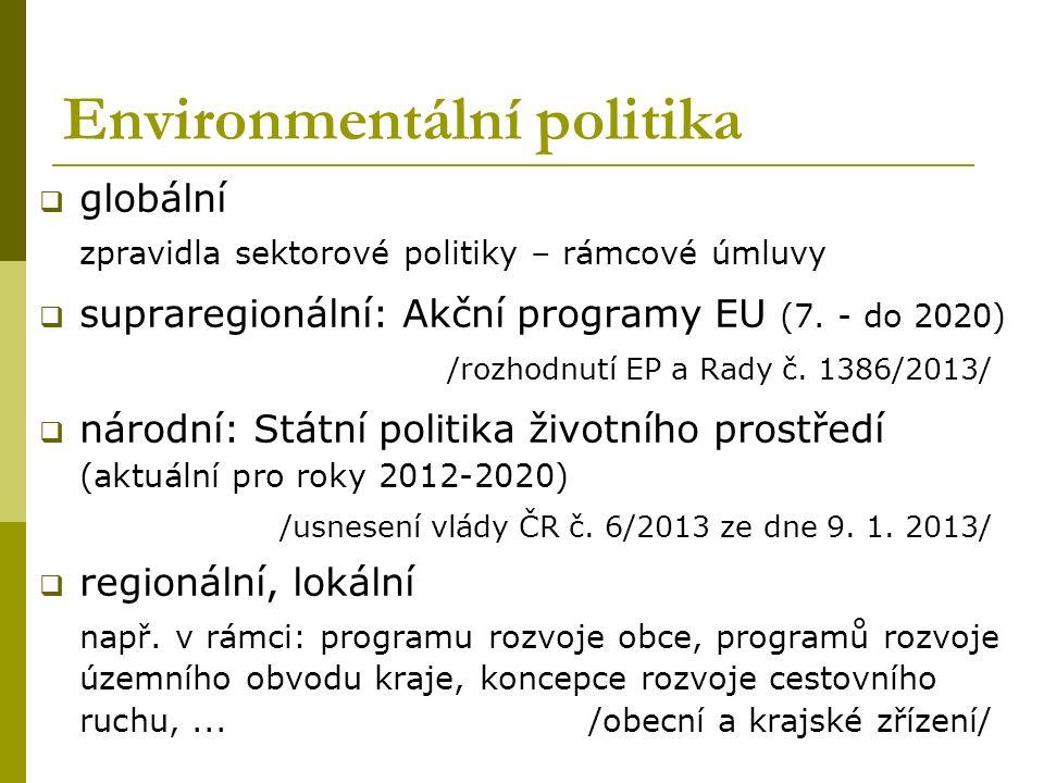 Environmentální politika  globální zpravidla sektorové politiky – rámcové úmluvy  supraregionální: Akční programy EU (7. - do 2020) /rozhodnutí EP a