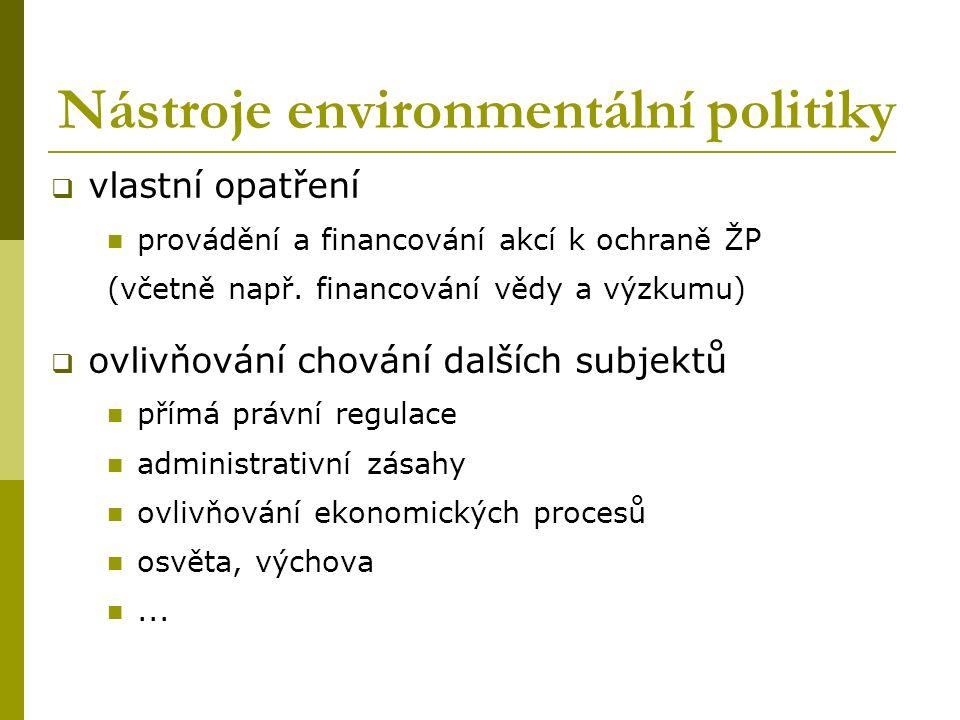 Nástroje environmentální politiky  vlastní opatření provádění a financování akcí k ochraně ŽP (včetně např. financování vědy a výzkumu)  ovlivňování