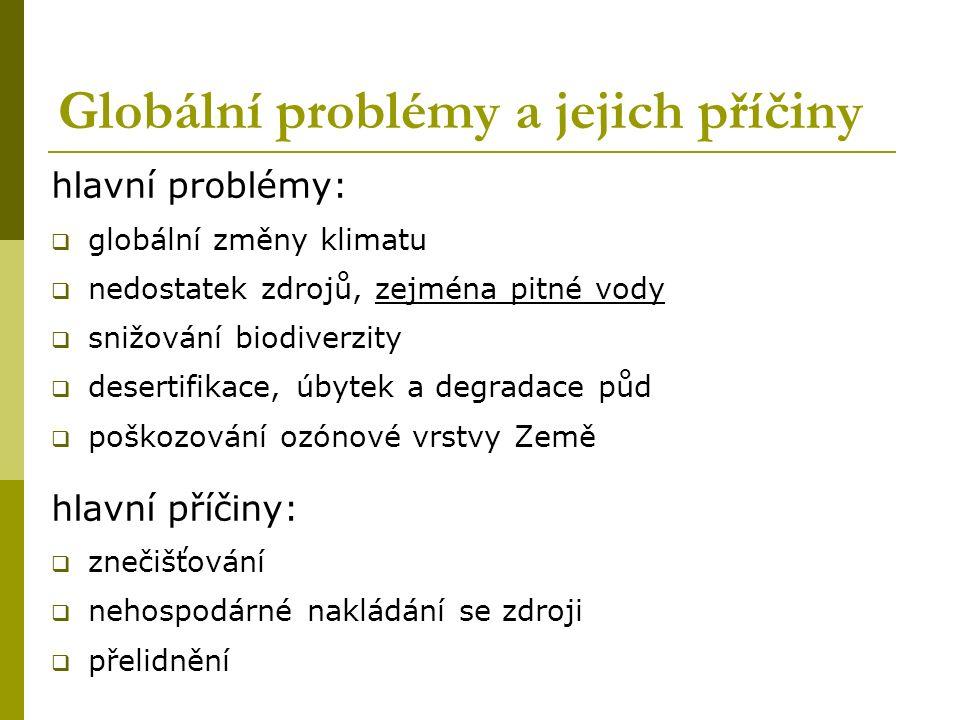 Globální problémy a jejich příčiny hlavní problémy:  globální změny klimatu  nedostatek zdrojů, zejména pitné vody  snižování biodiverzity  desertifikace, úbytek a degradace půd  poškozování ozónové vrstvy Země hlavní příčiny:  znečišťování  nehospodárné nakládání se zdroji  přelidnění