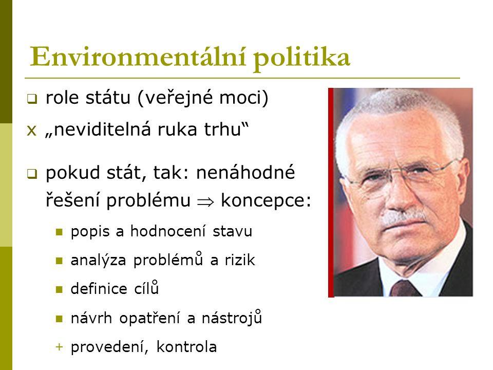 """Environmentální politika  role státu (veřejné moci) x""""neviditelná ruka trhu""""  pokud stát, tak: nenáhodné řešení problému  koncepce: popis a hodnoce"""