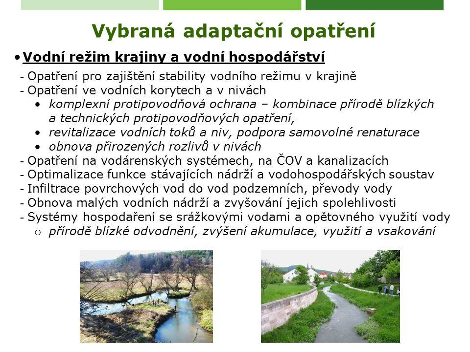 Vodní režim krajiny a vodní hospodářství - Opatření pro zajištění stability vodního režimu v krajině - Opatření ve vodních korytech a v nivách komplexní protipovodňová ochrana – kombinace přírodě blízkých a technických protipovodňových opatření, revitalizace vodních toků a niv, podpora samovolné renaturace obnova přirozených rozlivů v nivách - Opatření na vodárenských systémech, na ČOV a kanalizacích - Optimalizace funkce stávajících nádrží a vodohospodářských soustav - Infiltrace povrchových vod do vod podzemních, převody vody - Obnova malých vodních nádrží a zvyšování jejich spolehlivosti - Systémy hospodaření se srážkovými vodami a opětovného využití vody o přírodě blízké odvodnění, zvýšení akumulace, využití a vsakování Vybraná adaptační opatření